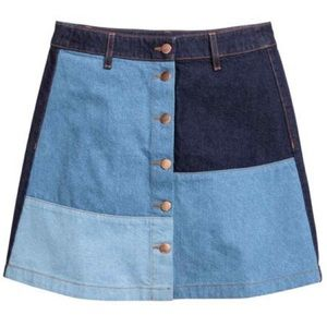H&M 70s denim colorblock skirt